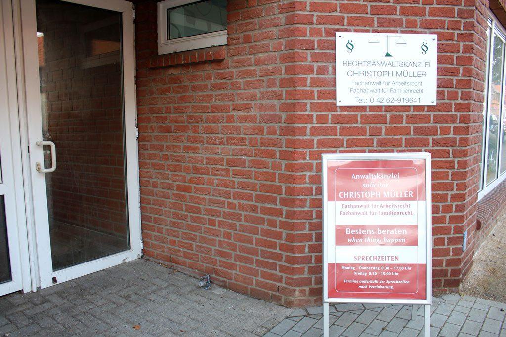 Eingang zur Rechtsanwaltskanzlei Christoph Müller